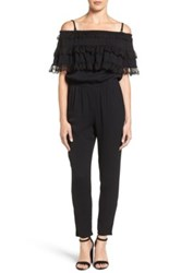 Ella Moss Lace Trim Off The Shoulder Jumpsuit Black