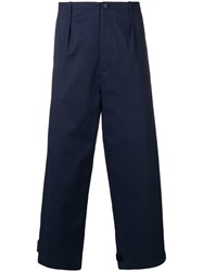 Les Hommes Loose Fit Straight Trousers Blue