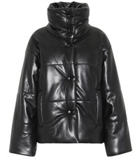 Nanushka Hide Faux Leather Puffer Jacket Black