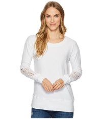 Allen Allen Box Thermal Lace Patch Crew White Women's Clothing