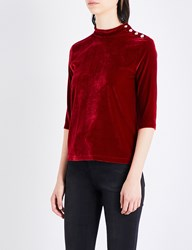 Moandco. High Neck Velour Top Tango Red