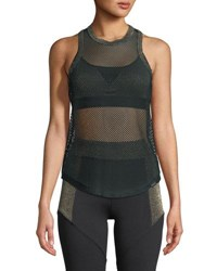 Koral Prep Open Mesh Tank With Metallic Trim Black