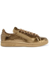 Adidas Originals Raf Simons Stan Smith Perforated Metallic Leather Sneakers Copper