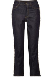 Paul And Joe Ontario Cropped Embellished High Rise Straight Leg Jeans Dark Denim
