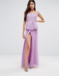 Virgos Lounge Michaela Maxi Dress With Peplum Purple
