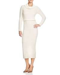 Alice Olivia Hailee Ribbed Sweater Dress Cream