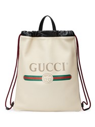 Gucci Print Leather Drawstring Backpack Leather White
