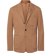 Barena Light Brown Mesola Slim Fit Unstructured Knitted Blazer Light Brown