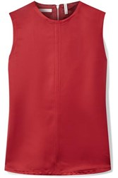 Helmut Lang Open Back Satin Twill Top Red