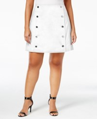 Michael Kors Plus Size Button Front Mini Skirt White