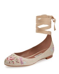 Tabitha Simmons Daria Embroidered Linen Ankle Wrap Flat Neutral Pattern