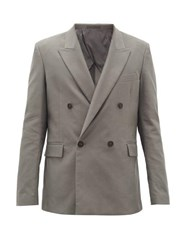 The Row Shane Double Breasted Wool Twill Suit Jacket Dark Grey