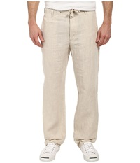 Perry Ellis Drawstring Linen Pant Natural Linen Men's Casual Pants Beige