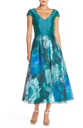 Women's Theia Print Silk Tea Length Gown