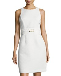 Tahari By Arthur S. Levine Textured Knit Jacquard Sheath Dress White