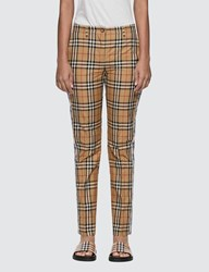 Burberry Straight Fit Contrast Check Cotton Trousers Beige