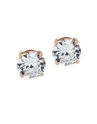 Jessica Simpson Round Crystal Stud Earrings Rose Gold