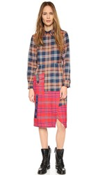 House Of Holland Tartan Collar Dress Navy Red