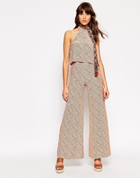 Asos X Jackie Wide Leg Trousers In Scratchy Line Print Multi
