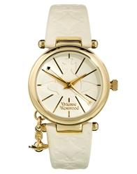Vivienne Westwood Leather Strap With Orb Charm Vv006whwh White