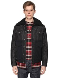 Dsquared Denim And Nylon Down Jacket W Shearling