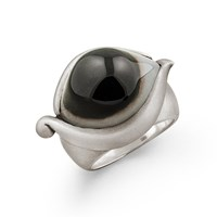 Snake Bones Eye Ring In Sterling Silver With African Agate