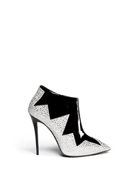 Giuseppe Zanotti 'Yvette' Strass Zigzag Suede Panel Patent Leather Booties Black Multi Colour