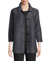Caroline Rose Raised Circle Jacquard Oval Button Front Cocktail Shirt Graphite Black