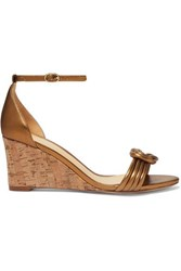 Alexandre Birman Vicky Knotted Leather Wedge Sandals Bronze
