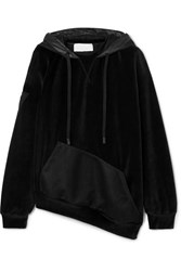 No Ka' Oi Ka'oi Epaki Asymmetric Mesh And Cotton Blend Velour Hoodie Black