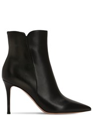 Gianvito Rossi 85Mm Levy Leather Ankle Boots Black