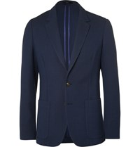 Paul Smith Blue Slim Fit Unstructured Merino Wool Blazer Navy