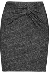 Iro Louisa Twisted Slub Cotton Blend Mini Skirt Dark Gray