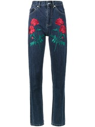 Adam Selman Rodeo Rose Embroidered Jeans Cotton Polyester Blue