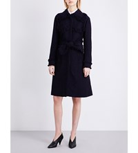 Nina Ricci Frayed Tweed Coat Dark Purple
