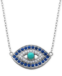 Giani Bernini Cubic Zirconia And Manufactured Turquoise Evil Eye Pendant Necklace Only At Macy's Silver