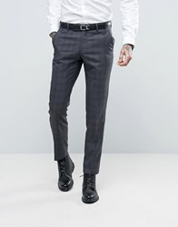 Ben Sherman Slim Fit Suit Trousers In Grey Overcheck Grey