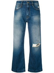 Cycle Distressed Cropped Jeans Women Cotton 28 Blue