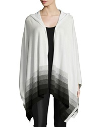 Three Dots Hooded Ombre Striped Cashmere Poncho