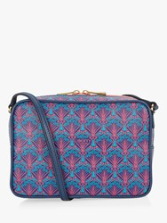 Liberty London Maddox Iphis Print Leather Camera Bag Navy