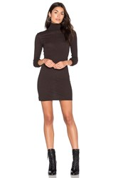 Enza Costa Cashmere Long Sleeve Turtleneck Dress Chocolate