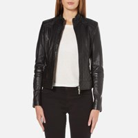 Boss Orange Women's Janabelle Leather Jacket Black