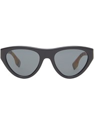 Burberry Vintage Check Detail Triangular Frame Sunglasses Black