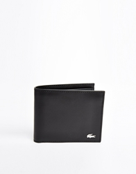Lacoste Leather Billfold Wallet With Coin Pocket Black