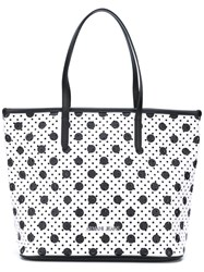 Armani Jeans Perforated Circle Print Tote Women Pvc One Size White