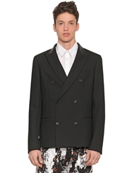 Mcq By Alexander Mcqueen Gabardine Jacket With Leather Collar Black