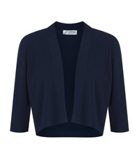 D.Exterior Cropped Open Cardigan Female Blue