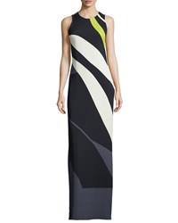 Narciso Rodriguez Sleeveless Striped Crepe Chiffon Gown Black Slate Multi