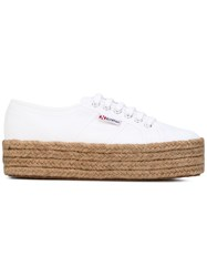 Superga Platform Lace Up Sneakers Women Cotton Rubber 37 White