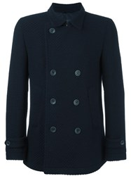 Herno Double Breasted Coat Blue